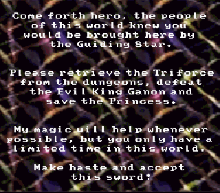 Screenshot Thumbnail / Media File 1 for BS Zelda no Densetsu (Japan) (BS) [En+Fix by BSZHP v20090629] (~BS The Legend of Zelda) (Timer+Limit)